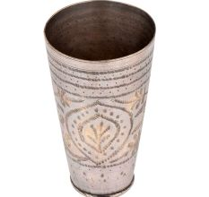 Brass Lassi Glass Cup With Big Oval Leafy Dotted Pattern
