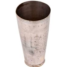 Indian Style Engraved Flower Brass Lassi Glass Cup In Silver Polish