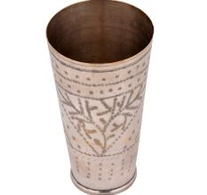 Tall Brass Lassi Glass Cup Triangular Leaf Design And Dotted Rings