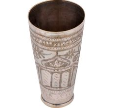 Brass Lassi Glass Cup With Engraved Islamic Design