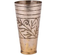 Brass Punjabi Lassi Glass Etched leafy Pattern Design