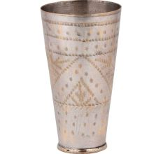 Dotted Leaf Brass Lassi Glass Cup Home Decoration