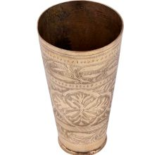 Brass lassi Glass Cup Engraved With a Big Flower And Long Leaves