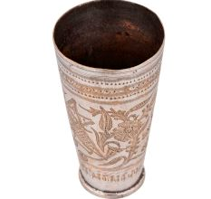 Old Brass lassi Glass Cup With Floral leaves Design For Home Decoration