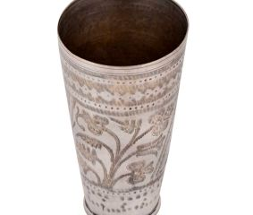 Brass Lassi Glass Cup Diamond Border And Leafy Pattern