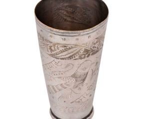 Brass Lassi Glass Cup With Traditional Bird and Leaves