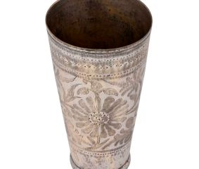 Indian Big Flower Engraved Brass Lassi Glass Cup