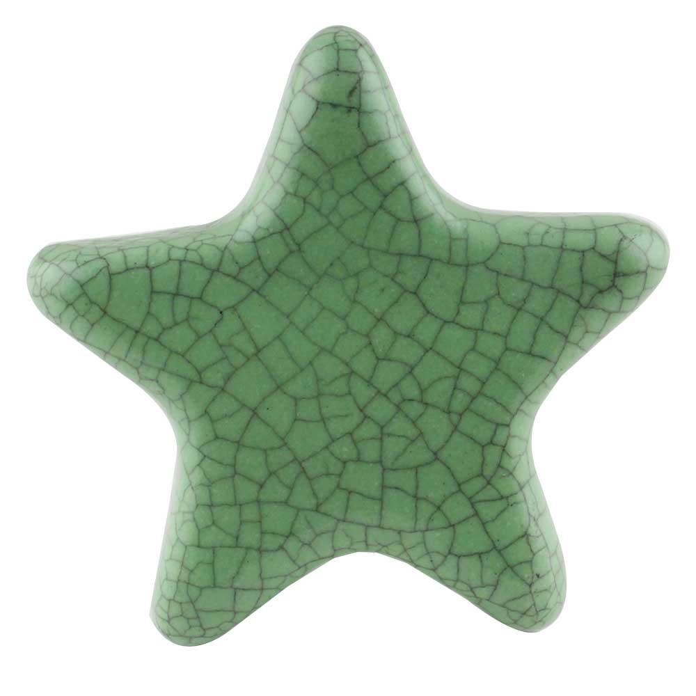 Green Star Crackle Ceramic Knob