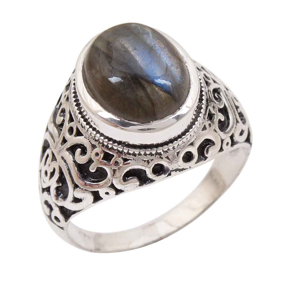 Labradorite Gemstone 92.5 Sterling Silver Antique Handmade Male Female Boho Ring