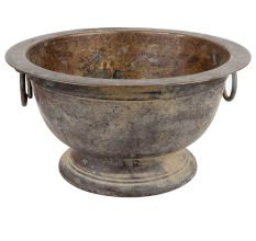 Rustic Brass Flower Pot With Two Ring handles