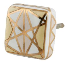 White And Golden Square Ceramic Floral Cabinet  Knobs