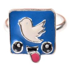 92.5 Sterling Silver Ring With Blue Bird Blue Background Kids Jewelry (Pair)