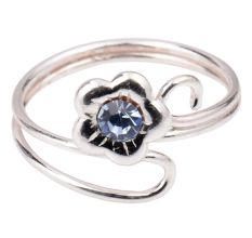 92.5 Sterling Silver Toe Ring With Flower Design For Women And Girls (Pair)