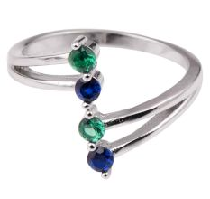 92.5 Sterling Silver Toe Ring Tanzanite and Peridot Stone Women Jewelry (Pair)