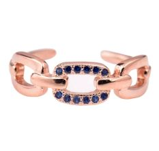 92.5 Sterling Silver toe Ring Chain Design Decorated with Tiny Tanzanite Stones With Rose Gold Polish (Pair)