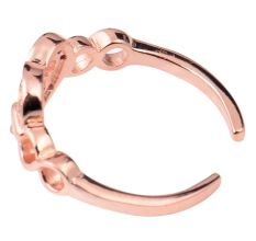 92.5 Sterling Silver Toe Ring Studded American Diamond Chained Heart With Rose Gold Finish (Pair)