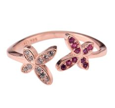 Sparkling 92.5 Sterling Silver Open able Toe Ring  American Diamond Pink Tourmaline Flowers (Pair)
