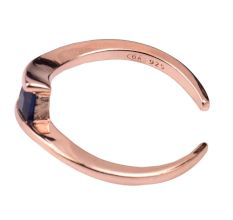 92.5 Sterling Silver Toe Ring Square Tanzanite Studded Twisted Design Women Jewelry With Rose Gold Finish (Pair)
