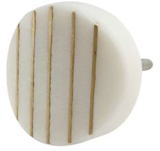 Round Oval White Stone Golden Line Cabinet Knobs