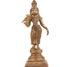 Brass Parvati Statue Standing With Parrot