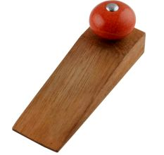 Orange Black Crackle Wooden Door Stopper