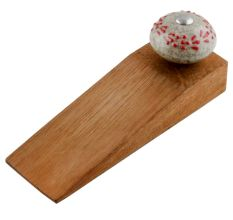 Red Embossed Crackle Ceramic Wooden Door Stopper