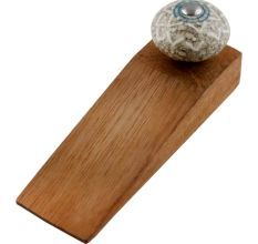 White Embossed Ceramic Crackle Wooden Door Stopper