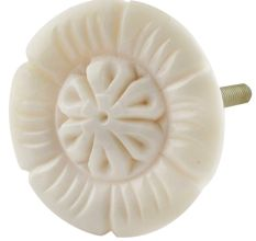 Cream Sunflower Bone Cabinet Knob