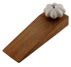 Cream Melon Crackle Ceramic Wooden Door Stopper