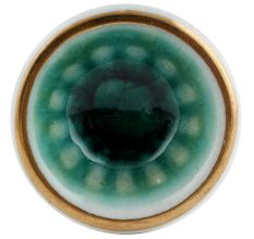 Sea Green Wheel Ceramic Dresser Knob in Silver Fitting