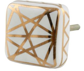 White And Golden  Square Ceramic Floral Knobs