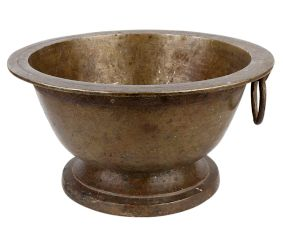 Round Brass Flower Pot With A Single Ring