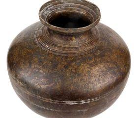 Brass Water Pot Round Bulging Body For Worship