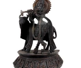 Brass Krishna Statue Standing On lotus Base With Patina