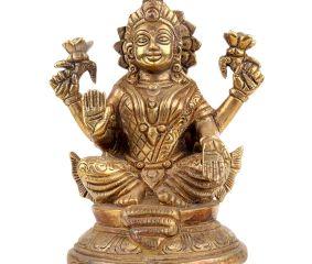 Brass Lama Statue In Golden Finish