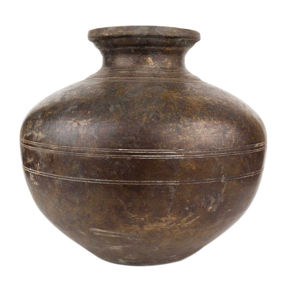Brass Water Pot Round Bulging Body For Worship