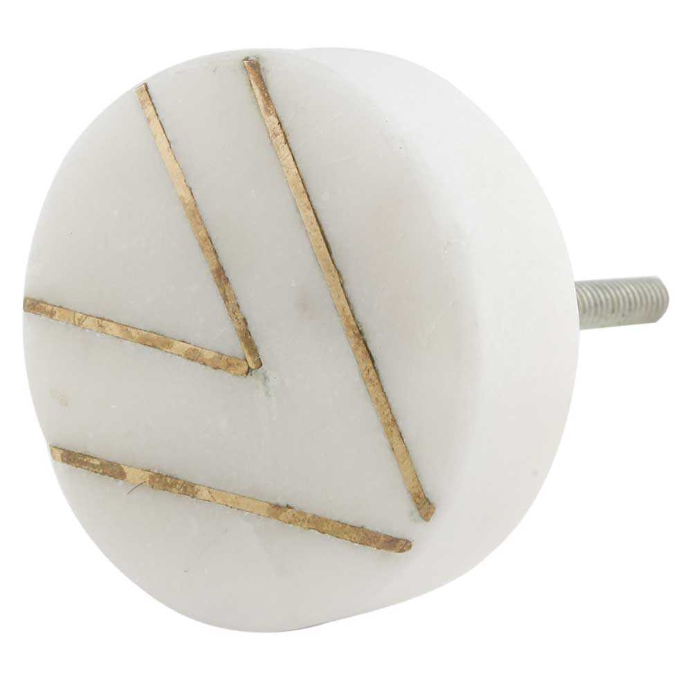 Round White Stone Gold V Shape Cabinet Knobs