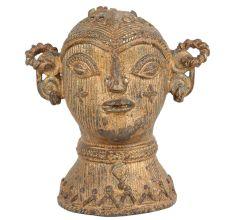 Brass Tribal Goddess Head Statue Showpiece