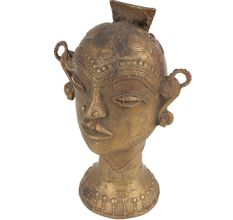 Brass Tribal Lady Head Statue With Jewellery And Stylish Bun