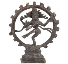 Brass Natraja Dancing Shiva Statue With Rings Of Flame