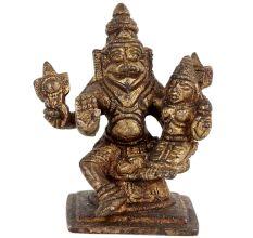 Brass Statue Of Narsimha Lakshmi Home Decoration