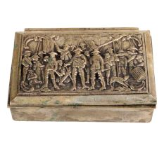 Brass Storage Box With Repousse Pirates And Soldiers Scene