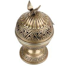 Round Brass Storage Box Jali Design And Bird On Top