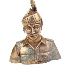Brass Indian Solider Statue Guard For Home Decoration