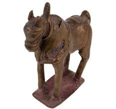 Brass Horse Statue Wearing A Saddle Showpiece