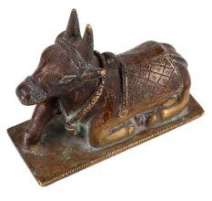 Brass Sitting Nandi Statue On Rectangular Base Festival Gift