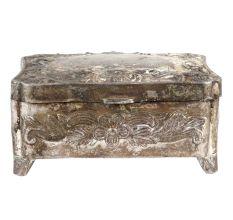 Silver Metal Storage Box Floral Design Jewelry Box