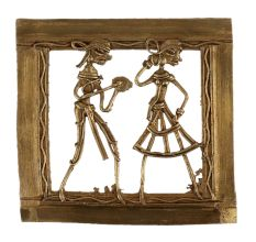 Brass Wall Art Hanging Dhokra Couple Figurines With Border