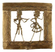 Brass Dhokra Wall Art Hanging Of Man & Woman Doing Daily Chore Activity Border