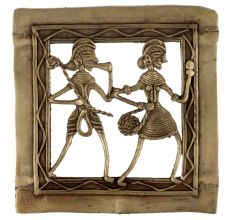 Brass Dhokra Wall Art Tribal Couple Musician Dancing